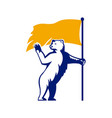 polar bear holding flag waving mascot vector image
