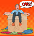 pop art stressed man in the box with clothes vector image vector image