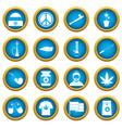 rastafarian icons blue circle set vector image vector image