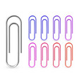 realistic colorful metal paper clips isolated on vector image
