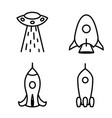 set flat linear rockets and ufo vector image