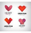 set of hearts logos charity vector image vector image