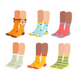 socks on woman legs set vector image vector image