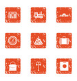 suburb icons set grunge style vector image vector image