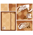 Template designs of menu and business card for cof vector image