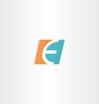 turquoise orange letter e logo icon element vector image vector image