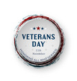 usa veterans day round banner on white background vector image vector image
