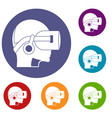 vr headset icons set vector image vector image