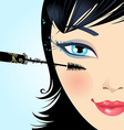 Woman paints the eyelashes makeup mascara vector image vector image