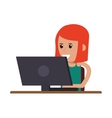 woman using laptop icon vector image vector image