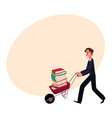 Young man businessman student librarian pushing vector image