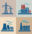 power plant electrisity icons set vector image