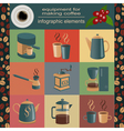 Equipment for making coffee set infographics vector image