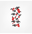 red flowers on white background vector image