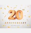20 anniversary gold wooden numbers with golden vector image