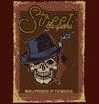 a skull with hat and cigarette vector image vector image