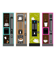 big colored set different types coffee machine vector image vector image
