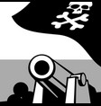 big gun aboard a pirate ship vector image vector image