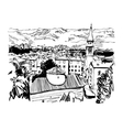 black and white sketch art panorama of Budva vector image vector image