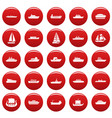 boat icons set vetor red vector image vector image