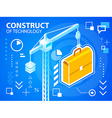 bright construct crine and work suitcase on vector image