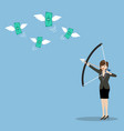 Business woman with a bow and arrow hitting the vector image vector image