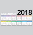 calendar 2018 template design vector image vector image