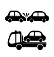 car crash and car towing truck icon vector image vector image