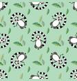 cute cartoon meditating lemur seamless pattern vector image vector image
