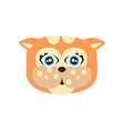 cute red kitten head funny cartoon cat character vector image vector image
