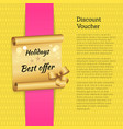 discount voucher holidays offer promo advertising vector image vector image