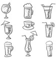 doodle of drink various style vector image vector image
