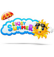 enjoy summer with sun smiling and an umbrella vector image
