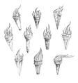 Flaming torches in retro sketch style vector image vector image