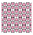 Fun pattern with pink hearts on white background vector image vector image