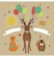 greeting card with forest friends vector image vector image