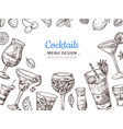 hand drawn cocktail background engraving vector image