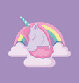 head cute unicorn of fairy tale with rainbow and vector image vector image