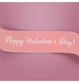 Holiday pink paper Valentines Ribbon with Text vector image vector image