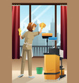 hotel janitor cleaning the hotel room vector image