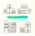 Houses set drawn black outline on a light vector image vector image