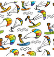 kiteboarding seamless pattern for your design vector image vector image