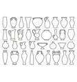outline vases and amphora collection vector image vector image