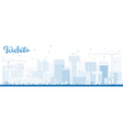 Outline Wichita Skyline with Blue Buildings vector image vector image