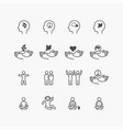 peace icons flat line design set relax good vector image