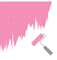 pink dot paint roller brush for text on wall vector image