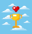 pixel game trophy and heart life prize play vector image