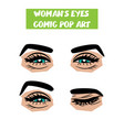 pop art cartoon comic smile wink woman eyes vector image