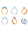 precious wedding rings with gems icons set vector image
