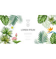 realistic tropical plants floral concept vector image vector image